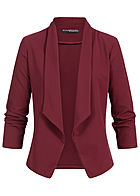 Styleboom Fashion Damen Drapped Blazer bordeaux rot