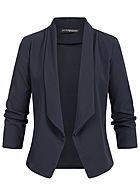 Styleboom Fashion Damen Drapped Blazer navy blau