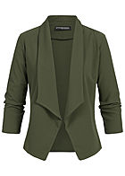 Styleboom Fashion Damen Drapped Blazer military grün