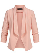 Styleboom Fashion Damen Drapped Blazer rosa
