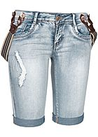 Seventyseven Lifestyle Damen Bermuda Shorts Braces Crash Look 5-Pockets hell blau denim