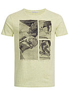 Eight2Nine Herren Printed T-Shirt Skateboard by Stitch & Soul pastel grün melange