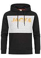 Jack and Jones Herren 2-Tone Sweat Hoodie Logo Print schwarz grau