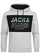 Jack and Jones Herren 2-Tone Sweat Hoodie Logo Print hell grau melange schwarz