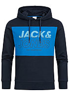 Jack and Jones Herren 2-Tone Sweat Hoodie Logo Print sky captain blau