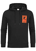 Jack and Jones Herren 2-Tone Sweat Hoodie Logo Print schwarz orange