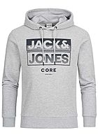 Jack and Jones Herren 2-Tone Sweat Hoodie Logo Print hell grau schwarz