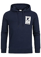 Jack and Jones Herren 2-Tone Sweat Hoodie Logo Print maritim blau weiss