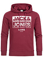 Jack and Jones Herren 2-Tone Sweat Hoodie Logo Print rhododendron rot weiss