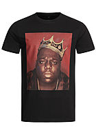 Merchcode Herren T-Shirt Notorious Big Crown Print schwarz