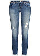 ONLY Damen Skinny Jeans Super Low Waist 5-Pockets Destroy Look medium blau denim