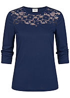 JDY by ONLY 3/4 Sleeve Lace Shirt depths blau