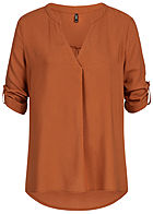 ONLY Damen 4/5 Sleeve Turn-Up Blouse Shirt ginger bread braun