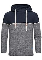 Jack and Jones Herren 2-Tone Knit Hoodie navy blau silver birch