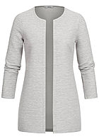 ONLY Damen NOOS 7/8 Arm Ripp Cardigan hell grau mel