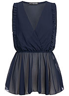 Styleboom Fashion Damen Wrapped Chiffon Top navy blau