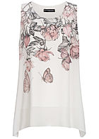 Styleboom Fashion Damen 2-Layer Chiffon Top Floral Print weiss rosa