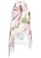 Styleboom Fashion Damen 2-Layer Cold Shoulder Chiffon Top Flower Print weiss rosa