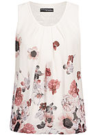 Styleboom Fashion Damen Chiffon Top Lace Backside Flower Print weiss