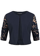Styleboom Fashion Damen 3/4 Sleeve Lace Short Bolero navy blau
