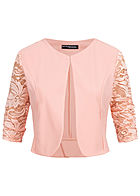 Styleboom Fashion Damen 3/4 Sleeve Lace Short Bolero rosa