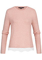 Vero Moda Damen Knit Blouse Lace Detail misty rosa weiss