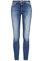 ONLY Damen Skinny Jeans 5-Pockets Crash Look medium blau denim