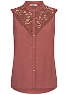 ONLY Damen Lace Blouse Top apple butter bordeaux rot