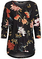 ONLY Damen 4/5 Sleeve Shirt Flower Print NOOS schwarz multicolor