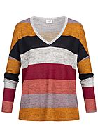 JDY by ONLY Striped Soft Touch V-Neck Longsleeve hell grau rot multicolor