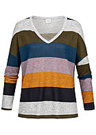 JDY by ONLY Striped Soft Touch V-Neck Longsleeve hell grau lila multicolor