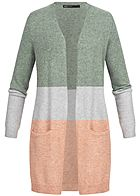 ONLY Damen Long Cardigan Colorblock NOOS balsam grün rosa grau
