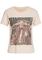 JDY by ONLY Damen Printed T-Shirt Majestic Fashion white swan beige