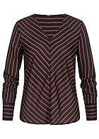 ONLY Damen Striped V-Neck Blouse night sky navy blau