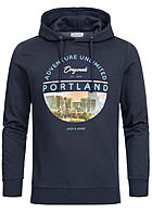 Jack and Jones Herren Hoodie City Print navy blazer blau
