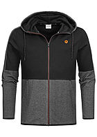 Jack and Jones Herren Sweat Zip Hoodie 2-Pockets schwarz melange