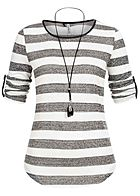 Seventyseven Lifestyle Damen 3/4 Sleeve Striped Turn-Up Shirt Feather Chain weiss