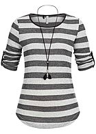 Seventyseven Lifestyle Damen 3/4 Sleeve Striped Turn-Up Shirt Feather Chain hell grau