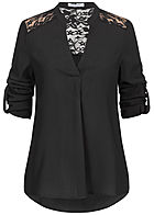 Seventyseven Lifestyle Damen Turn-Up Lace Blouse Shirt schwarz