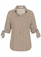 Seventyseven Lifestyle Damen Striped Turn-Up Blouse Shirt caramel braun weiss