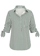 Seventyseven Lifestyle Damen Striped Turn-Up Blouse Shirt dunkel grün weiss