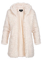 Hailys Damen Teddyfell Cardigan 2-Pockets Kapuze off weiss