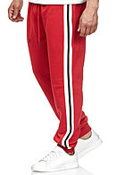 Seventyseven Lifestyle TB Herren Terry Sweatpants 2-Pockets rot weiss schwarz