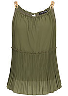 Styleboom Fashion Damen Plissee Chiffon Top 2-lagig military grün