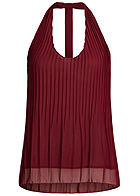 Styleboom Fashion Damen Chiffon Plissee Top 2-lagig bordeaux rot