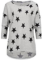 Seventyseven Lifestyle Damen 3/4 Sleeve Oversize Soft Touch Sweater Stars Print hell grau