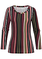 Seventyseven Lifestyle Damen Soft Touch Longsleeve Stripes Print multicolor