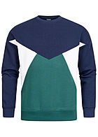 Stitch & Soul Herren Colorblock Sweater dark navy blau grün weiss