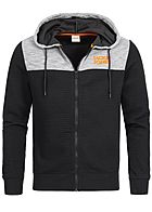 Jack and Jones Herren 2-Tone Sweat Zip Hoodie Kapuze schwarz grau