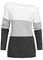 Styleboom Fashion Damen One-Shoulder Colorblock Sweater weiss grau schwarz